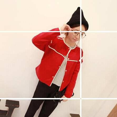 เสื้อคลุมแฟชั่น แขนยาว ผ้าฝ้าย ลายเส้น สีแดง