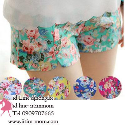 กางเกงขาสั้นลายดอกไม้ พิมพ์บนผ้าสีพื้น มีให้เลือกหลายสีค่ะ กางเกงปรับเอวได้ และมีผ้ารองรับหน้าท้อง
