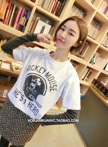 (SALE) T-shirt ลายมิกกี้ สีขาว