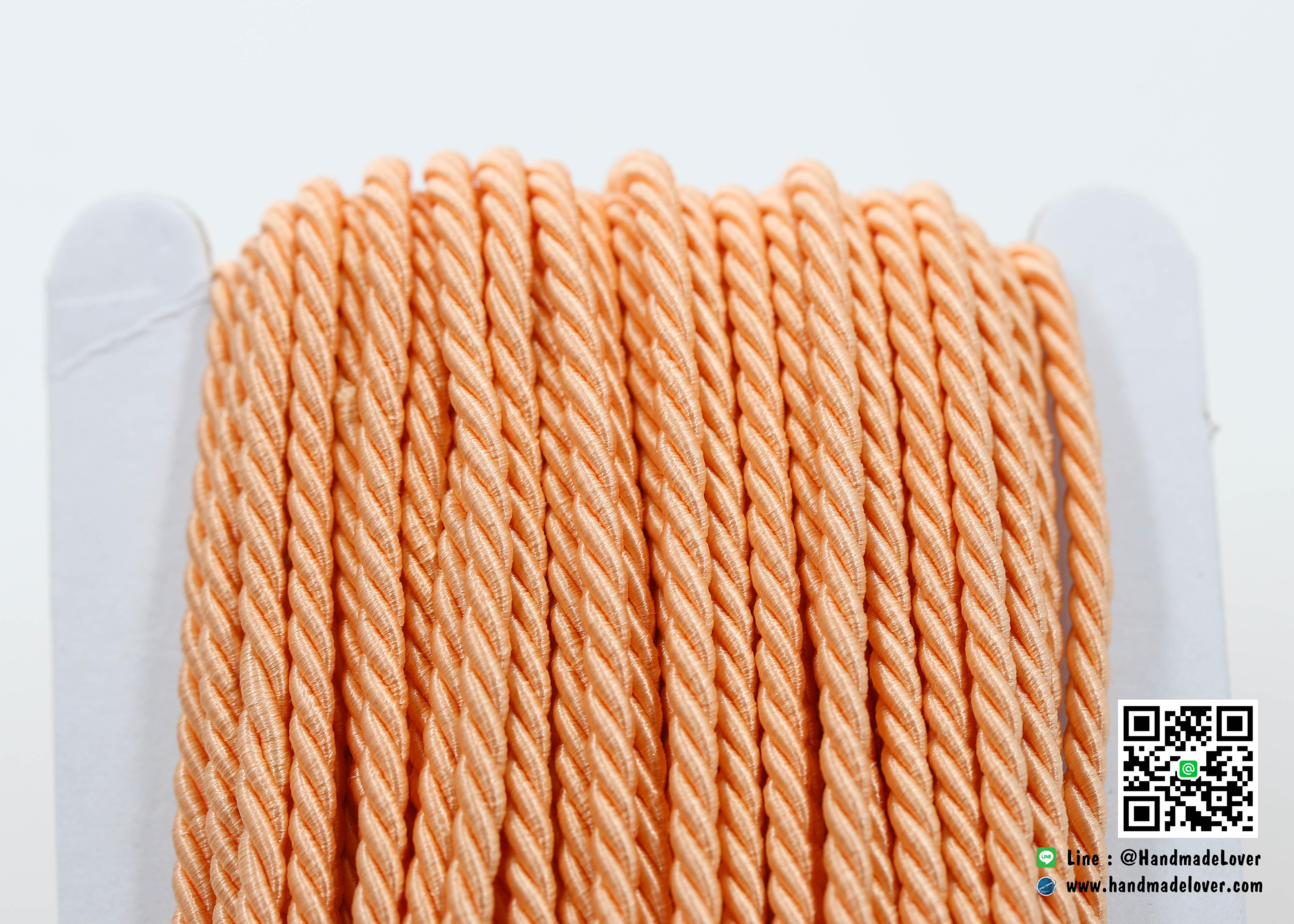 เชือกเกลียว สีโอรส [153] ขนาด 3 mm.