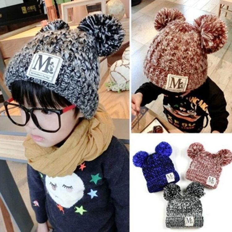 C96-93 หมวกไหมพรมกันหนาวสำหรับเด็ก ขนาดฟรีไซส์ ยืดได้เยอะ สำหรับเด็ก 3-10 ขวบ