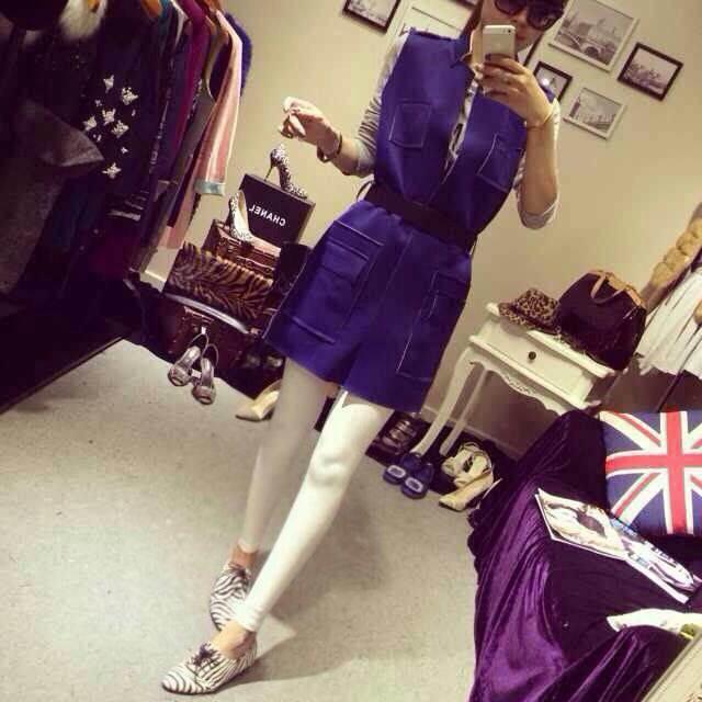 (SALE) เสื้อคลุมยาว แขนกุด สีน้ำเงิน ผ้าหนาไม่ยืด