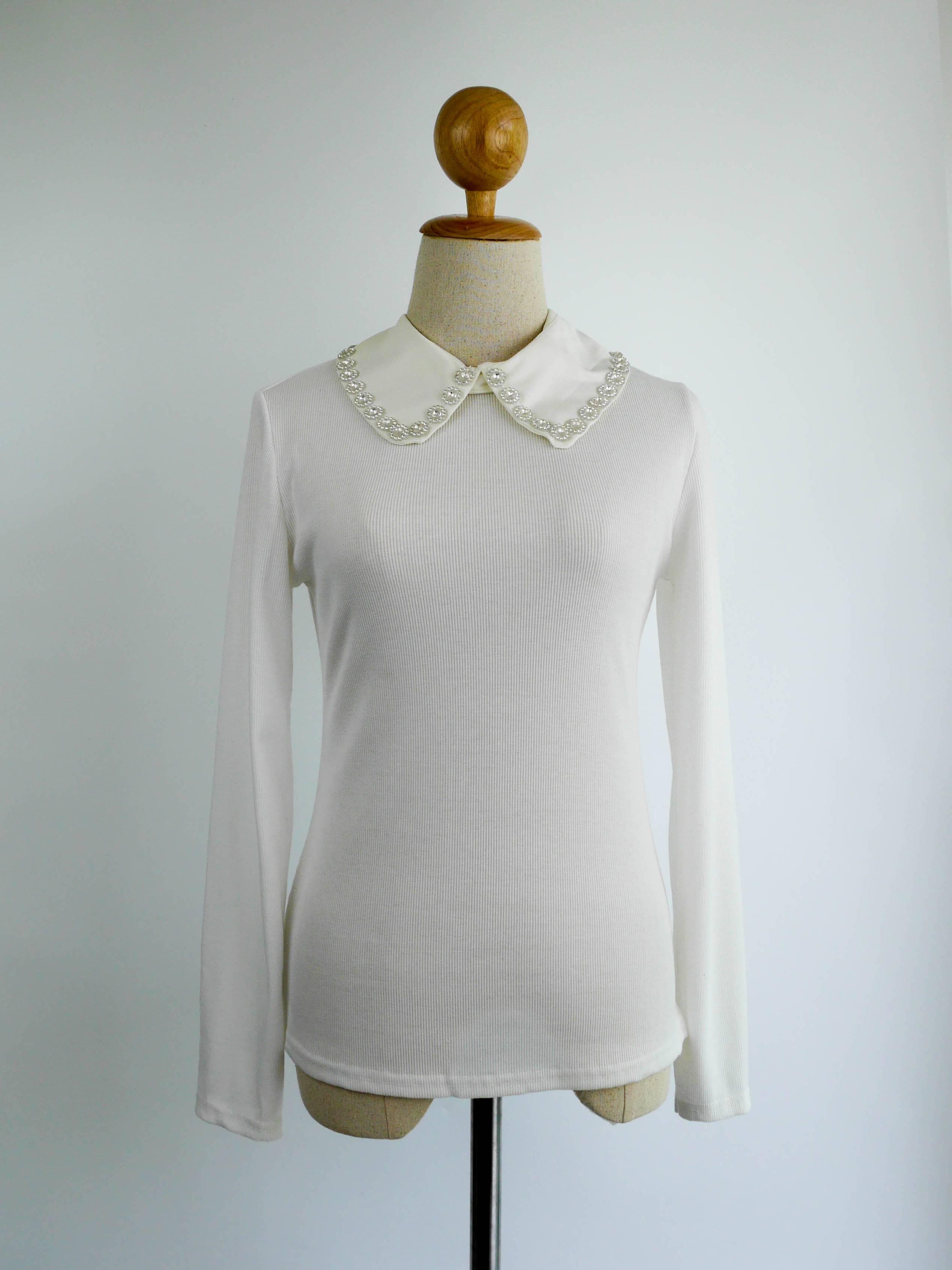 เสื้อแฟชั่น แขนยาว คอปกเชิ๊ต(ถอดได้) สีขาว