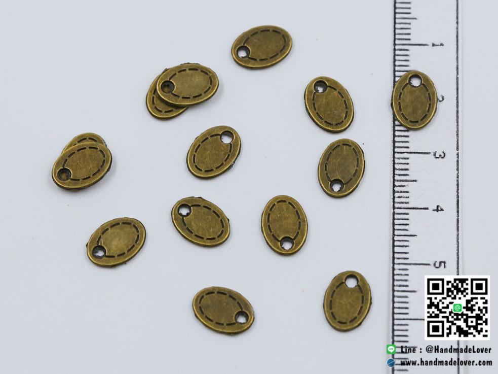 จี้,ตัวห้อยซิป สีทองรมดำวงรี ขนาด 8*11 mm.