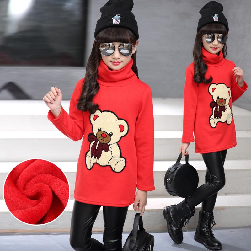 C116-92 เสื้อกันหนาวเด็กลายหมีสีแดง ข้างในเป็นผ้าขนนุ่ม สวย อบอุ่นสบาย size 120-160 พร้อมส่ง