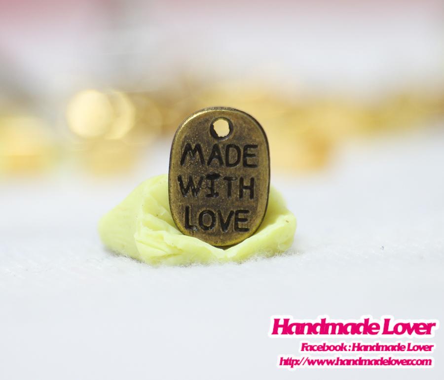 จี้โลหะ สีทองรมดำ Made with love