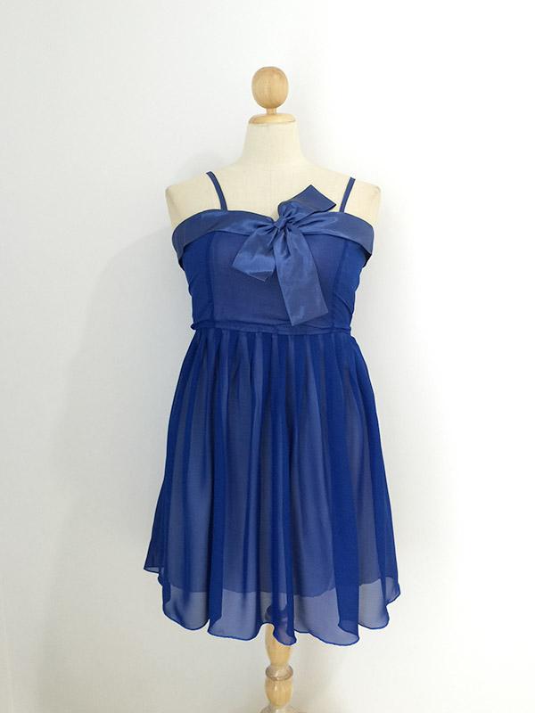 ชุดราตรี ผ้าชีฟอง แต่งอกริบบิ้น สีน้ำเงิน อก 40-50 นิ้ว