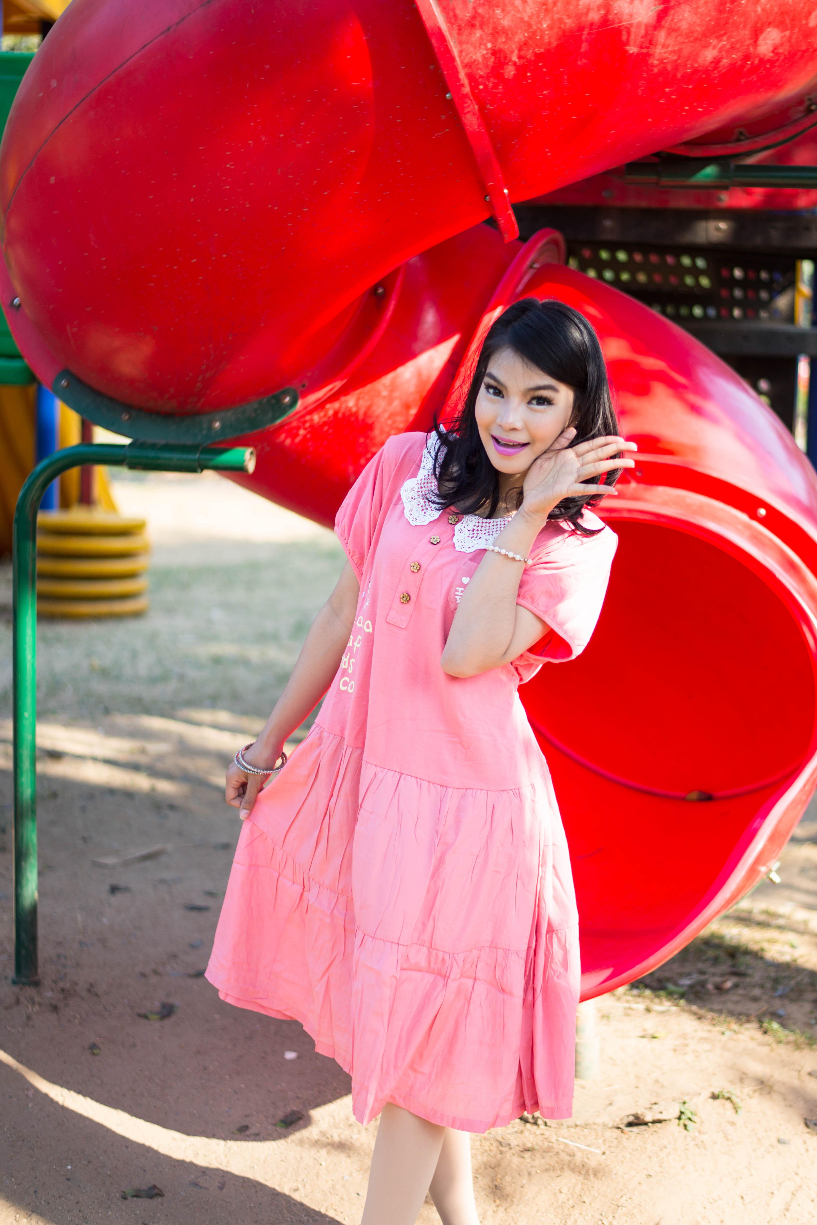 ชุดคลุมท้องไซต์xxlผ้ายืดใส่สบายๆค่ะสีชมพู