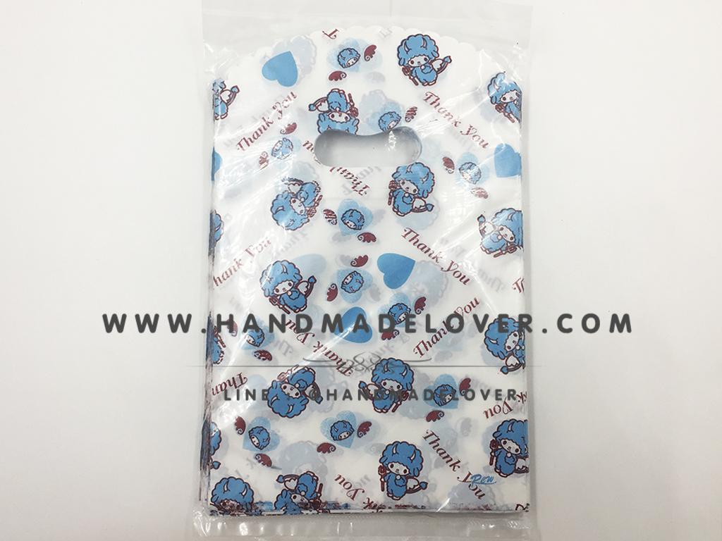 ถุงพลาสติก ลายการ์ตูน สีฟ้า ขนาด 5*8 นิ้ว [แพ็ค 100 ชิ้น]