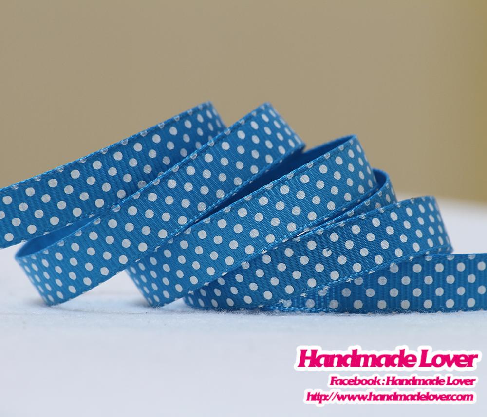 ริบบิ้นผ้ากรอสเกรน สีฟ้า พิมพ์ลายจุด