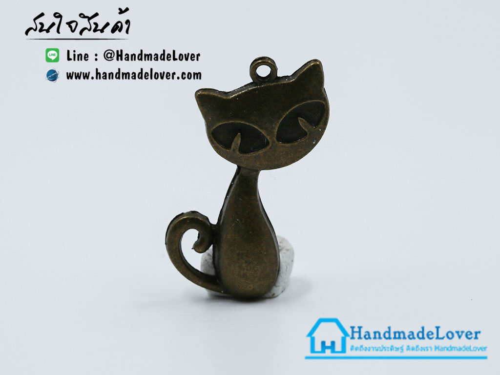 จี้โลหะ,ตัวห้อยซิป แมว สีทองรมดำ