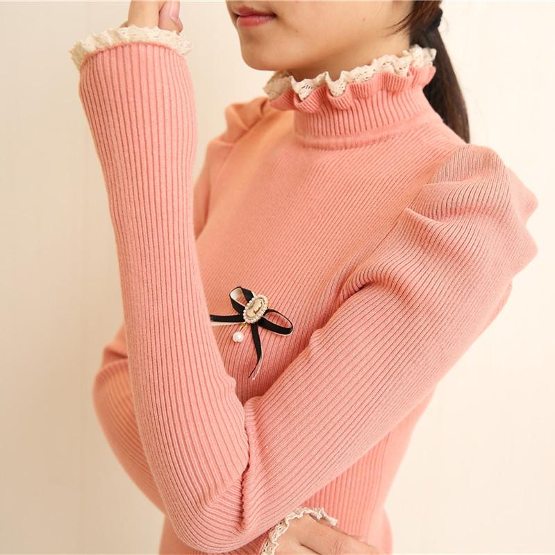 Pre-เสื้อคอเต่าแขนยวา แต่งขอบระบาย สไตล์ญี่ปุ่น น่ารักมากกก สีดำ ชมพู แดง น้ำเงิน