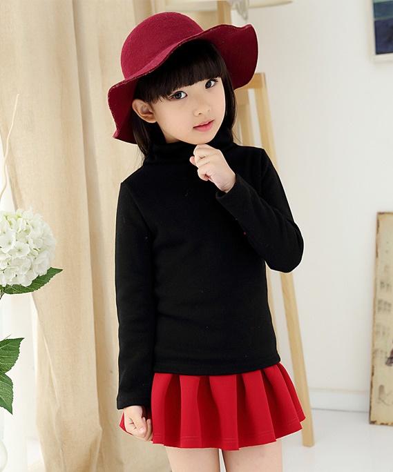 C129-22 เสื้อกันหนาวเด็กคอสูงสีดำ ผ้าขนนุ่ม ใส่อุ่น size 120-160