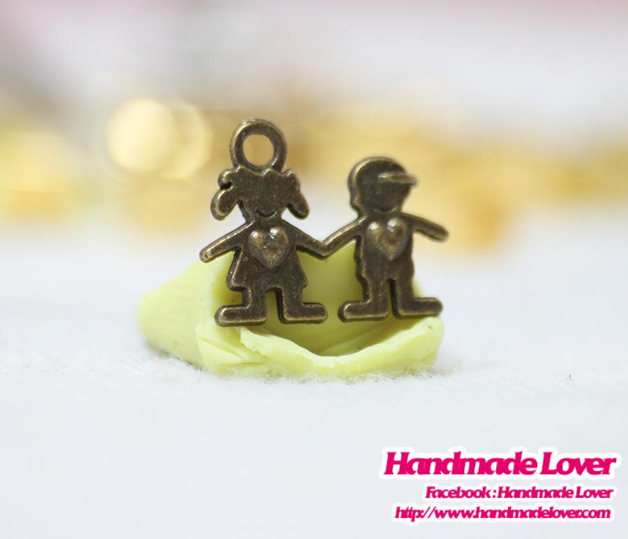 จี้ สีทองรมดำ รูปคู่รัก