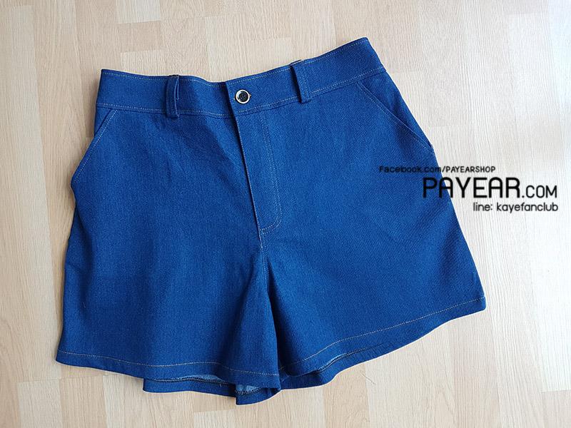 กางเกงขาสั้น ผ้ายีนส์ยืด สีน้ำเงิน เอว 38-48 นิ้ว