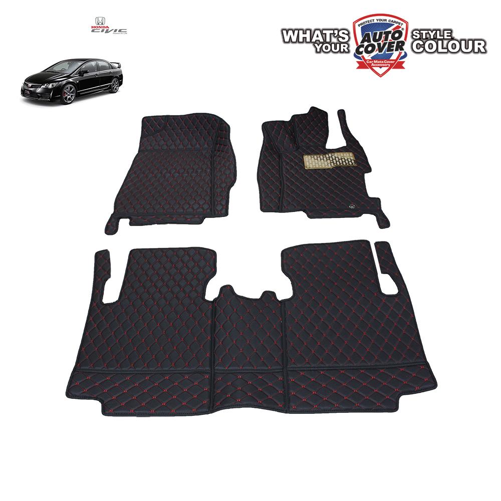 พรมเข้ารูป 6 D Leather Car Mat จำนวน 3 ชิ้น HONDA CIVIC FD 2006-2012
