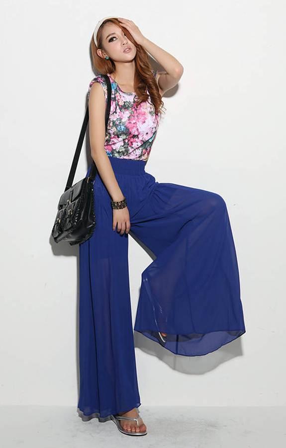 กางเกงแฟชั่น ขายาว ผ้าชีฟอง สีน้ำเงิน
