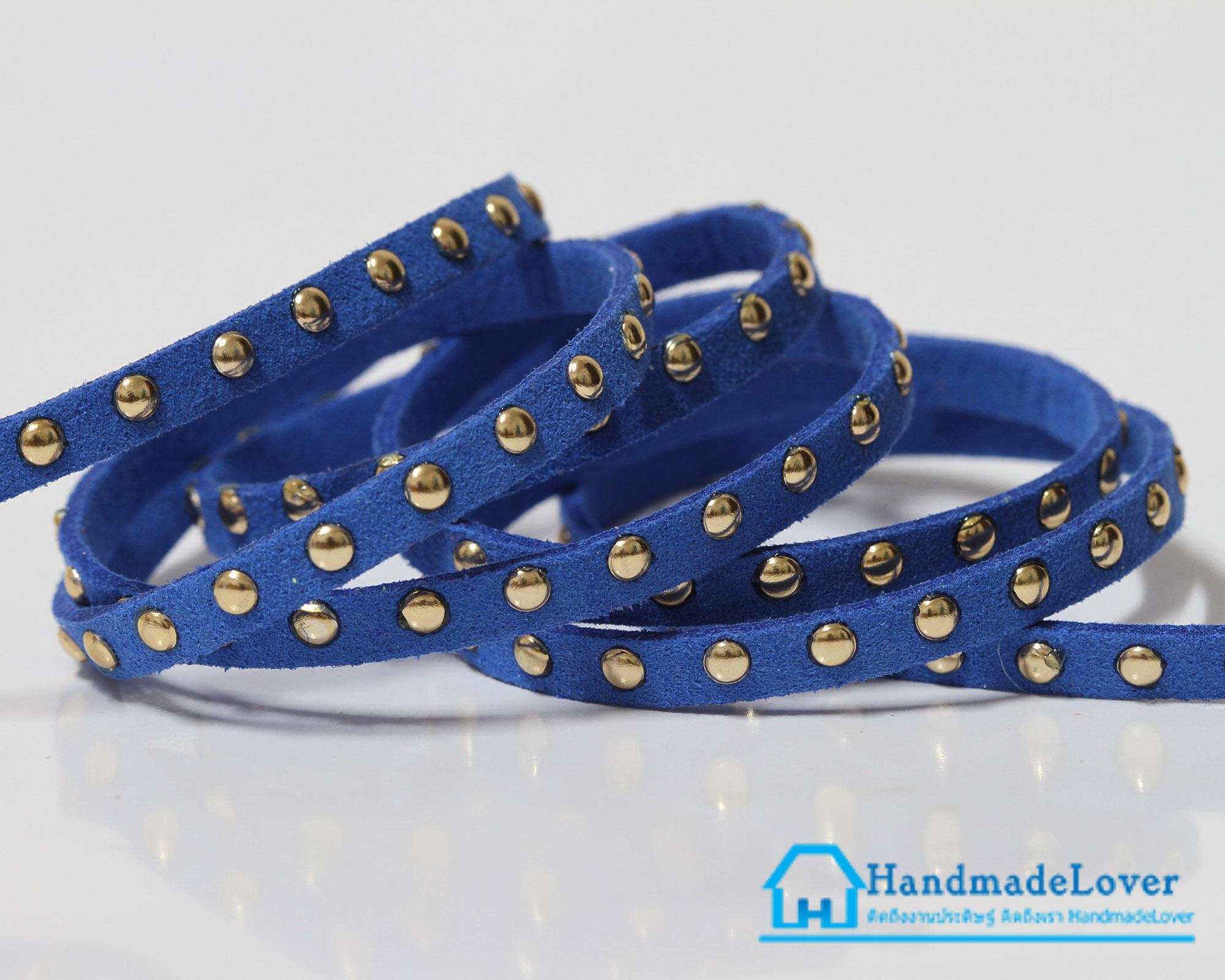 เชือกหนังชามุด สีน้ำเงิน ขนาด 5 mm.