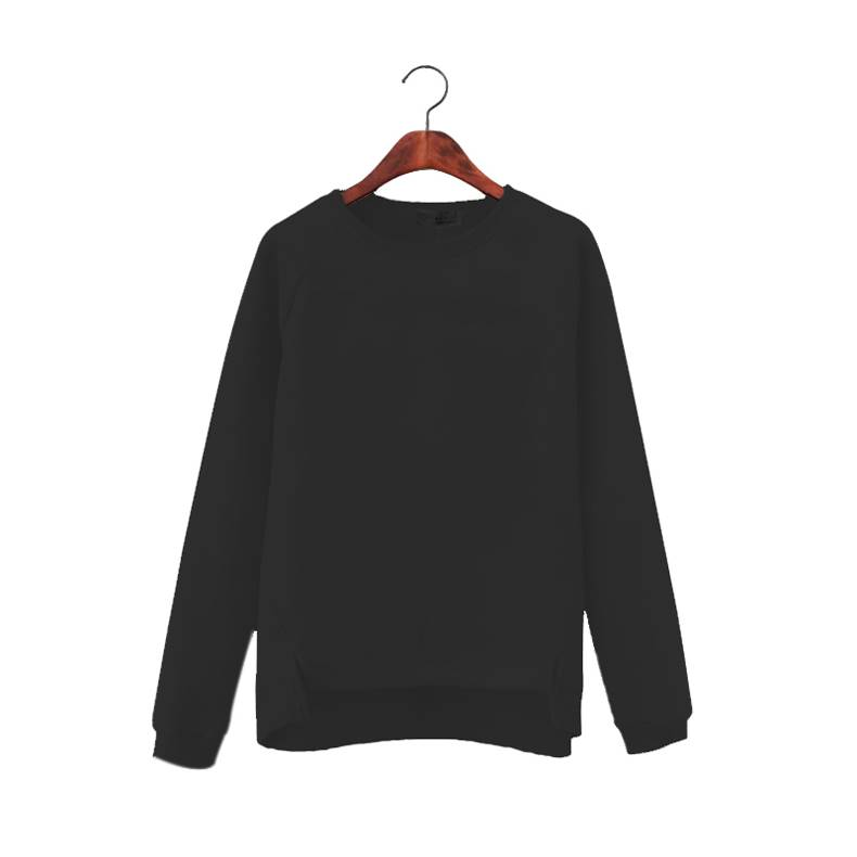 (ภาพจริง)เสื้อแฟชั่น คอลม แขนยาว บุกันหนาว สีพื้น สีดำ