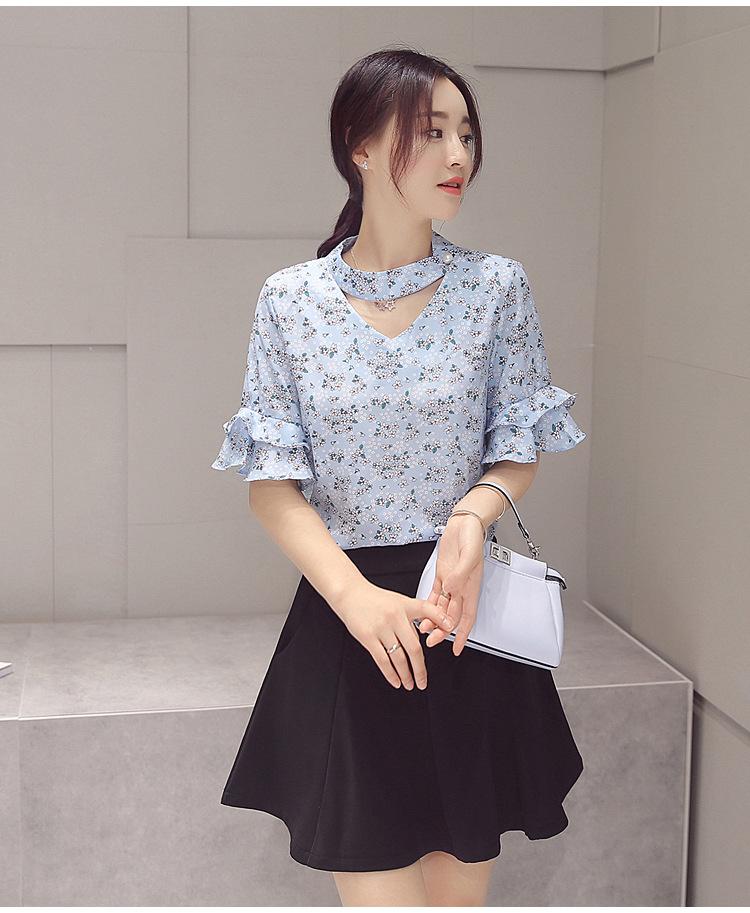 ชุดเซต 2 ชิ้น เสื้อชีฟองสีฟ้าลายน่ารักๆ + กระโปรงสั้นสีดำ แนวเกาหลีสวย น่ารัก