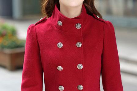 เสื้อโค้ทกันหนาวผู้หญิง สีน้ำเงิน คอจีน ยาวคลุมสะโพก ใส่เที่ยวต่างประเทศ สวยๆ