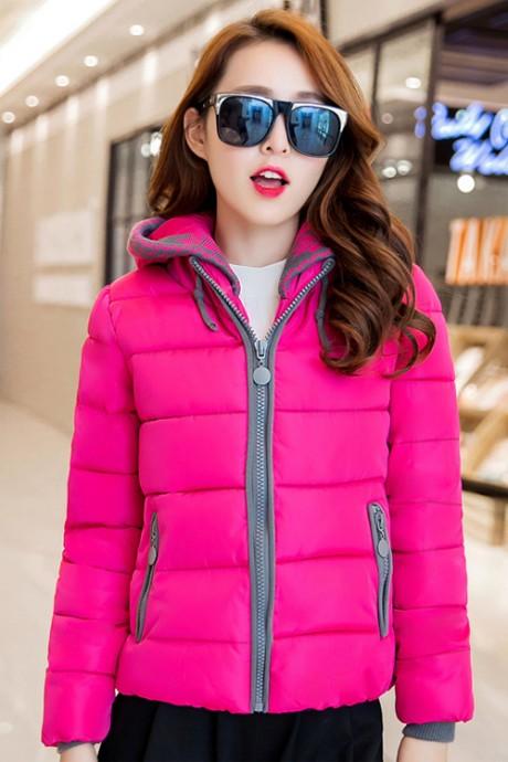 (สินค้าหมด) เสื้อโค้ทกันหนาว สีชมพูบานเย็น ตัดสีเทาช่วงแขนจั๊มและซิปรูด
