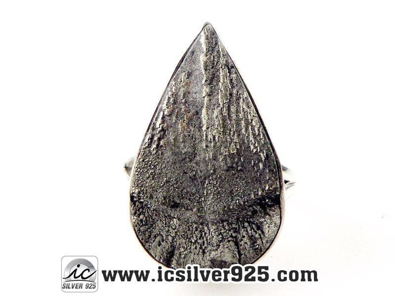 ไพไรต์-Illinois Pyrite Sun - แหวนเงินแท้ 925(SIZE 8.5)