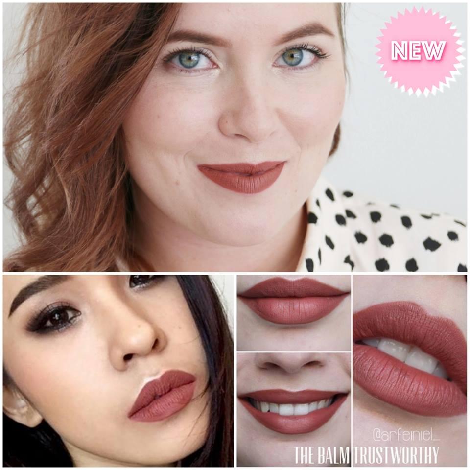 T้he Balm Meet Matte Hughes Long Lasting Liquid Lipstick 7.4 ml. #Trustworthy (สีใหม่) : น้ำตาลส้ม เจือแดงนิดๆ สีนี้สาวๆ ชอบตามหากันนะคะ