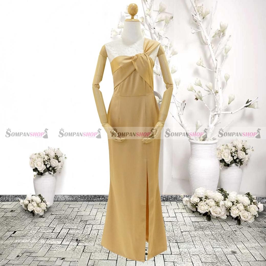 ชุดเดรสออกงานสีทอง ไหล่เฉียงข้าง จับจีบสวยๆสุดเก๋ ลุคเรียบๆ สวยหรู ดูสง่า เหมาะสำหรับใส่ออกงาน ไปงานแต่งงาน ( พร้อมส่ง )