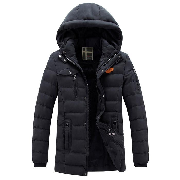 เสื้อกันหนาวผู้ชาย เสื้อแจ็คเก็ตผู้ชายมีฮู้ด ถอดได้ สีกากี ซับขนสัตว์อุ่นๆ