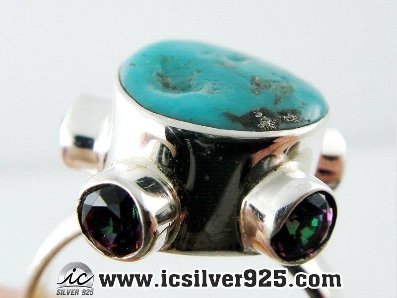 ▽เทอร์ควอยส์, พลอยโทพาซสีรุ้ง แหวนเงินแท้ 925 (แหวนเบอร์ : 58 , 5.5g)