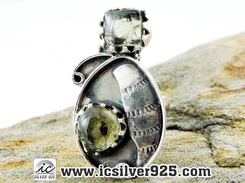 ▽เพอริดอท (PERIDOT) - แหวนเงินแท้ 925 (แหวนเบอร์ : 52)