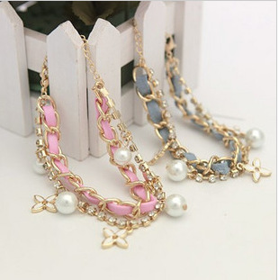 F541 - สร้อยข้อมือ,กำไลข้อมือ,กำไล,สร้อยข้อมือทอง,กำไลทอง,เครื่องประดับ pearl bracelet double leather cord bracelet