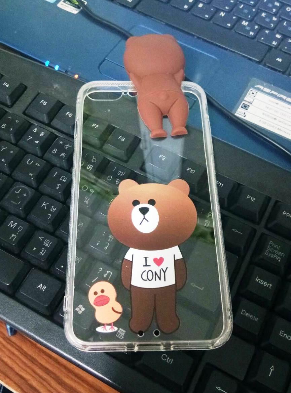 Tpu หมีน้ำตาลเกาะหลังลายหมีกับเป็ดน้อย (มีไฟ) iphone7 plus/iphone8 plus(ใช้เคสตัวเดียวกัน)