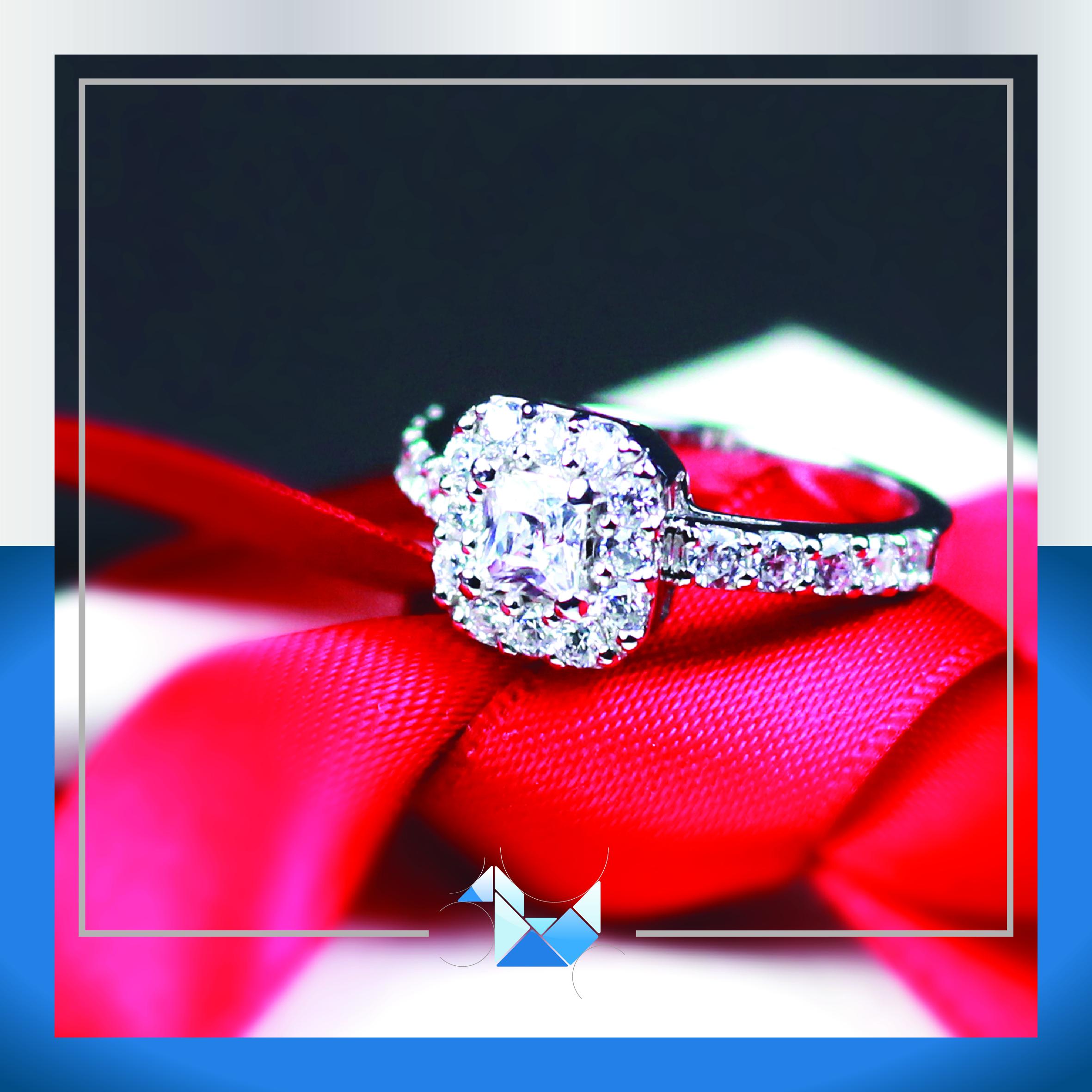 แหวนเงินแท้ เพชรสังเคราะห์ ชุบทองคำขาว รุ่น RG1458 4mm Square Princess