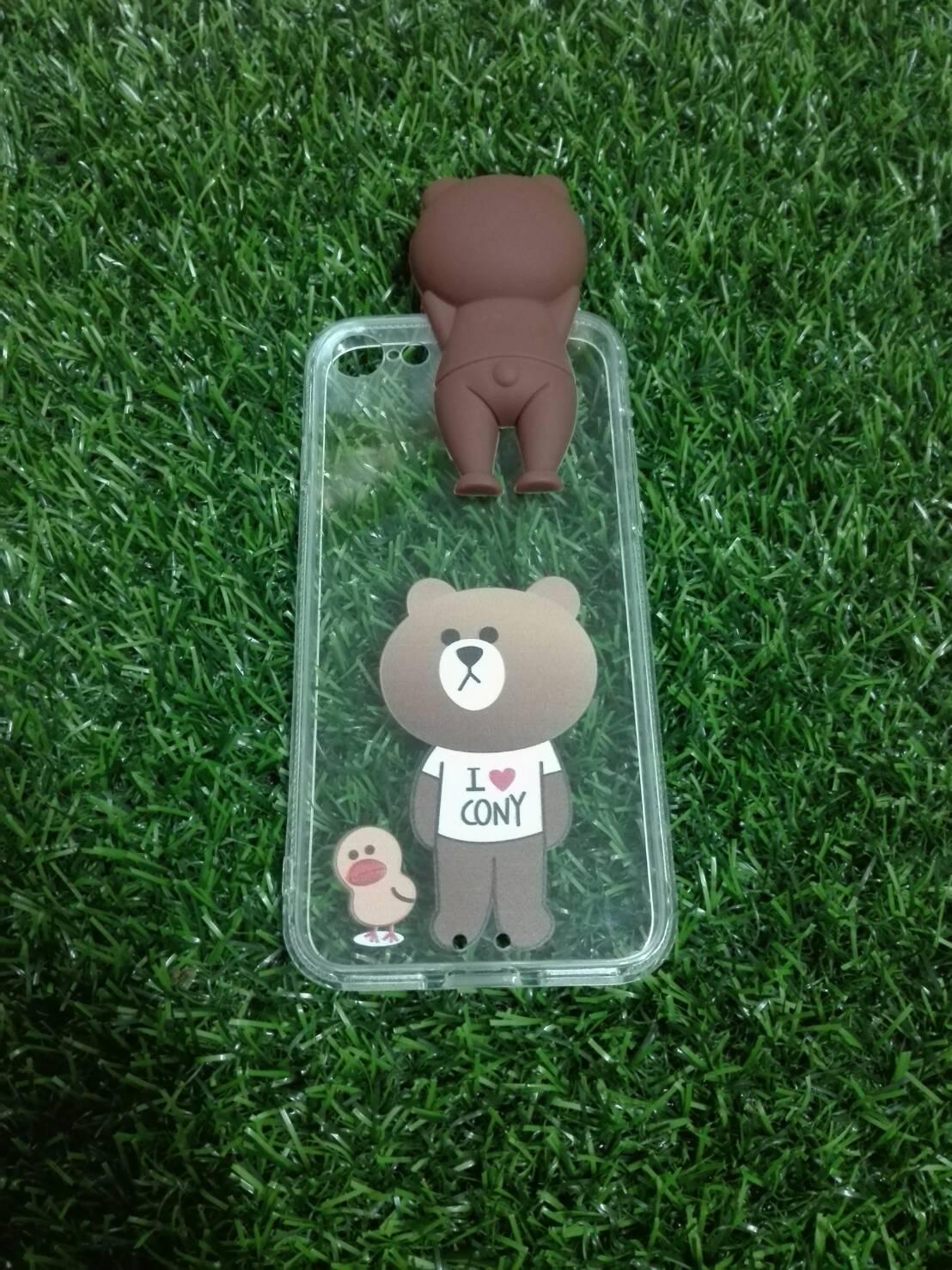 Tpu หมีน้ำตาลเกาะหลังลายหมีกับเป็ดน้อย (มีไฟ) iPhone7/iphone8(ใช้เคสตัวเดียวกัน)