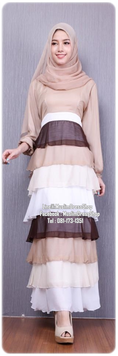 ☆ ✧ Colourful Layered Chiffon Dress✧ ☆BROWN