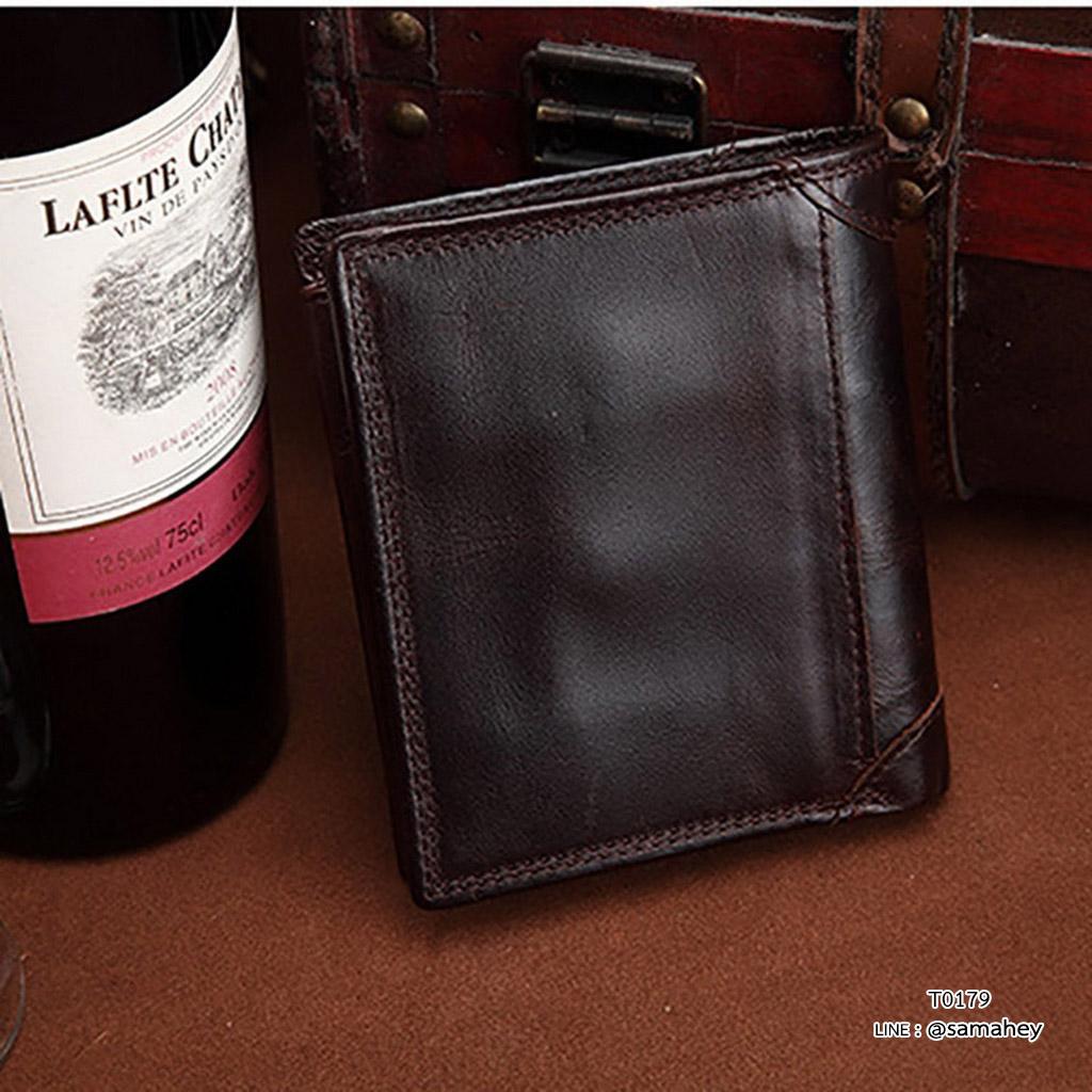 กระเป๋าสตางค์ผู้ชาย หนังแท้ ทรงตั้ง VEN Leather Circle - สีน้ำตาลเข้ม