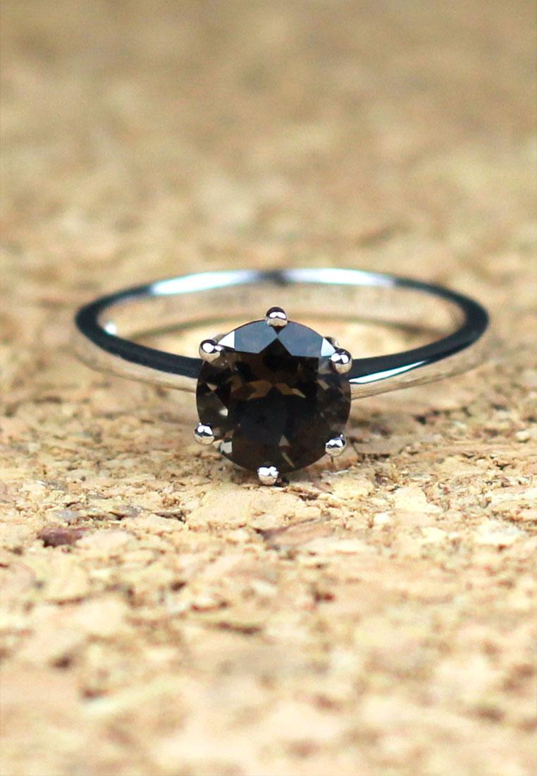 แหวนเงินแท้ พลอยแท้ ชุบทองคำขาว รุ่น RG1416sm 1.00 carat Smoky Quartz