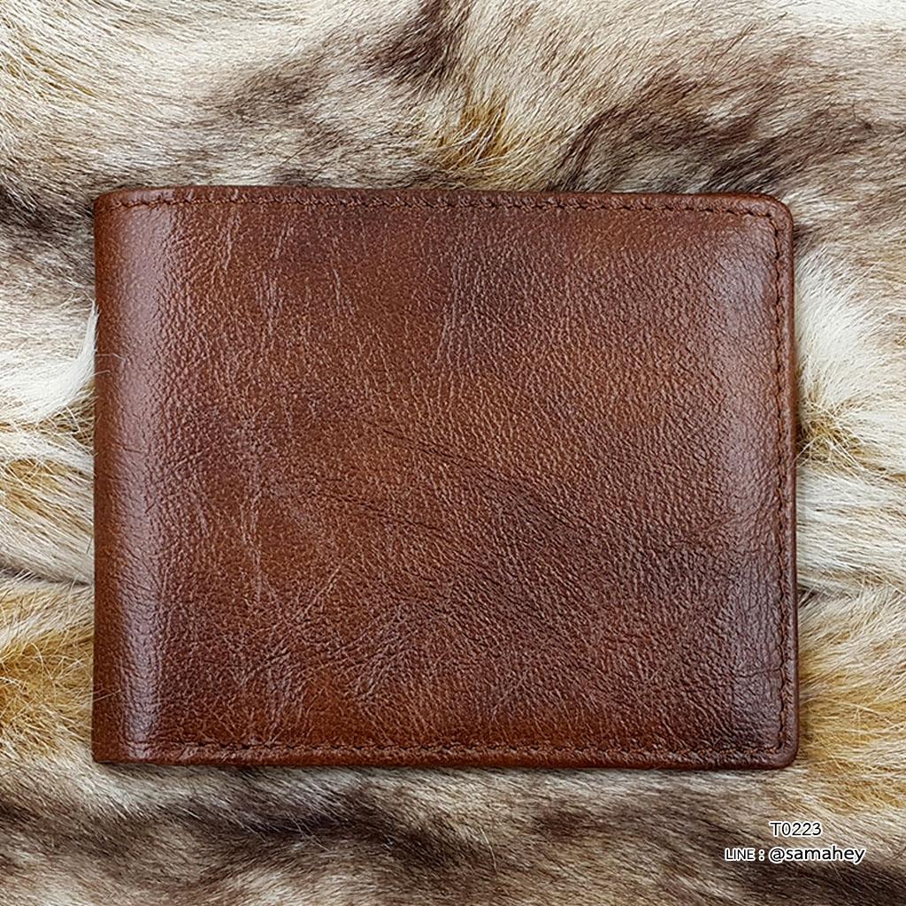 กระเป๋าสตางค์ผู้ชาย หนังแท้ ทรงสั้น Leather Clear - สีน้ำตาล