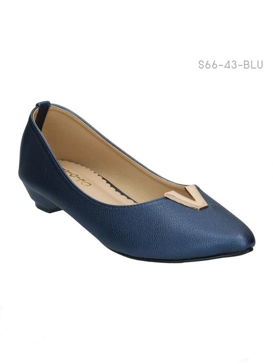 รองเท้าคัทชูส้นเตี้ย แต่งอะไหล่V (สีน้ำเงิน )