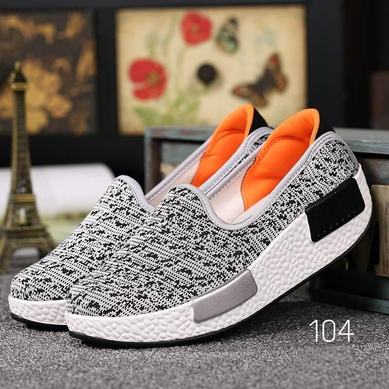 รองเท้าผ้าใบเสริมส้นสีเทา ผ้าทอ พื้นสุขภาพ (สีเทา )