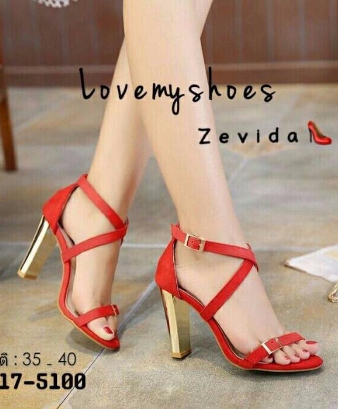 รองเท้าส้นเข็มรัดข้อสีแดง ผ้าสักหราด สายคาดไขว้ (สีแดง )