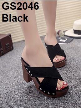 รองเท้าส้นตันเปิดส้นสีดำ สายคาดไขว้ (สีดำ )