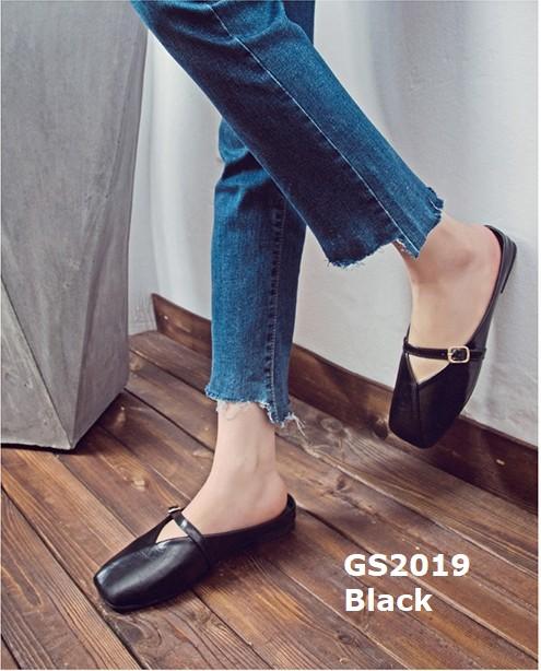 รองเท้าส้นเตี้ยหัวตัดสีดำ เปิดส้น หนังอย่างดี (สีดำ )
