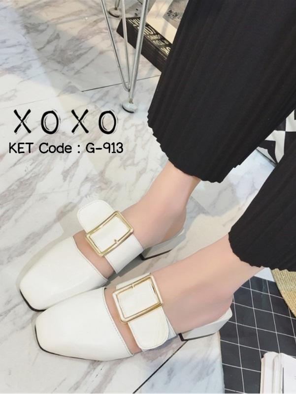 รองเท้าส้นเตี้ยสีขาว แต่งหัวเข็มขัด แฟชั่นฮิตมากในเกาหลี (สีขาว )
