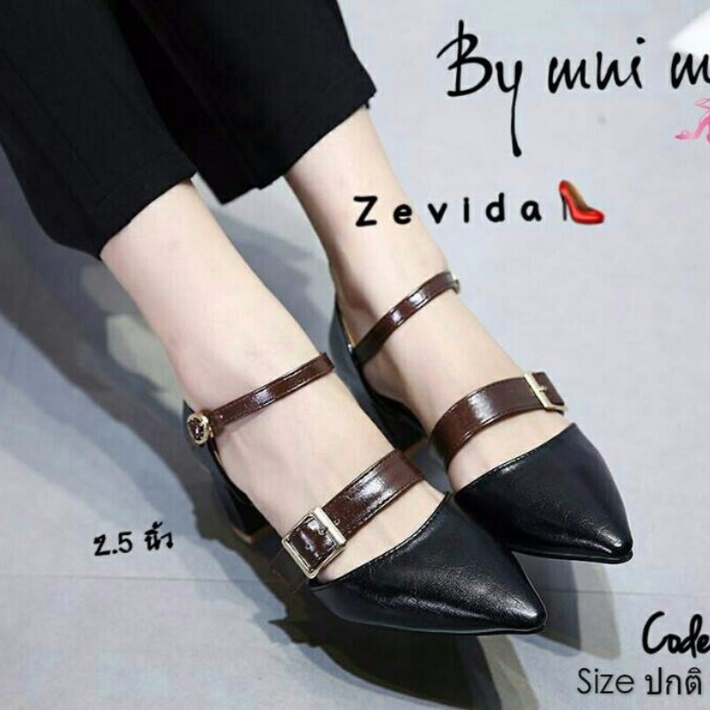 รองเท้าส้นตันรัดข้อสีดำ หัวแหลม สายคาดเข็มขัด (สีดำ )