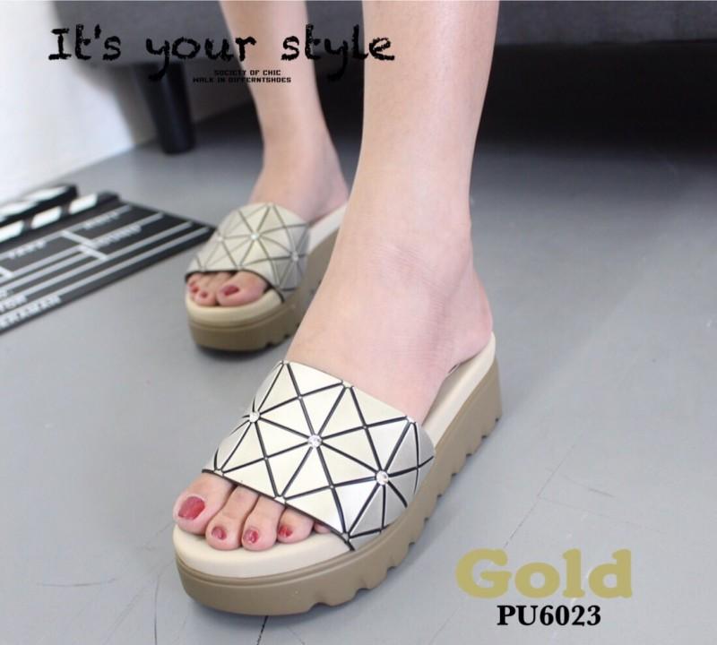 รองเท้าแตะผู้หญิงสีทอง แบบสวมแต่งเพชร สไตล์ ISSEY MIYAKE BAO BAO (สีทอง )
