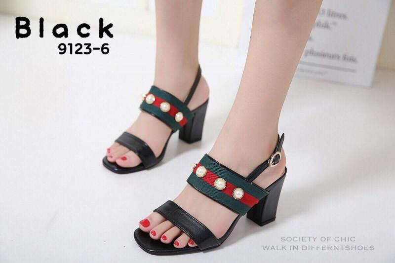 รองเท้าส้นตันรัดส้นสีดำ สไตล์แบรนด์ GUCCI (สีดำ )