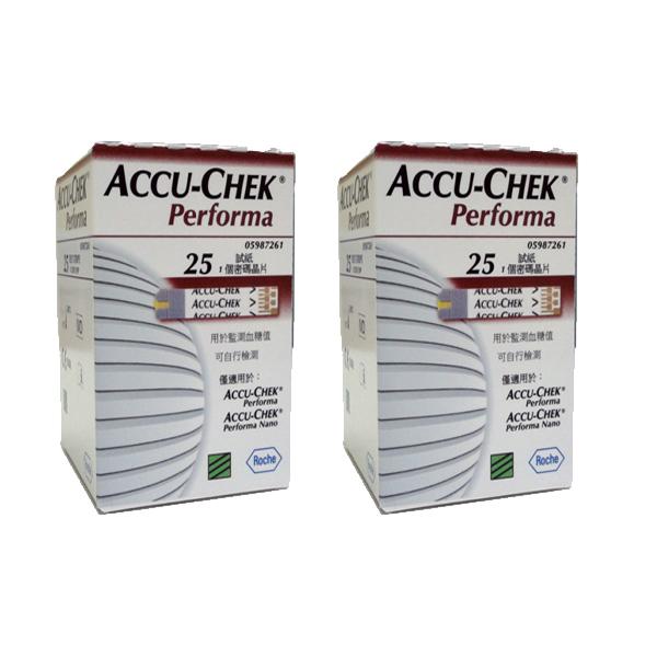 แผ่นตรวจน้ำตาล ACCU-CHEK Performa แบบ 25 ชิ้น ต่อกล่อง จำนวน 2 กล่อง